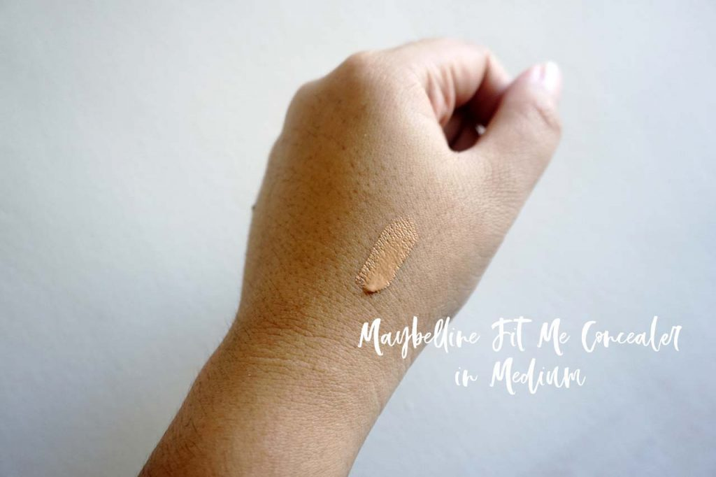 The Maybelline Fit Me Concealer in medium is perfect for my NC30 skin tone.