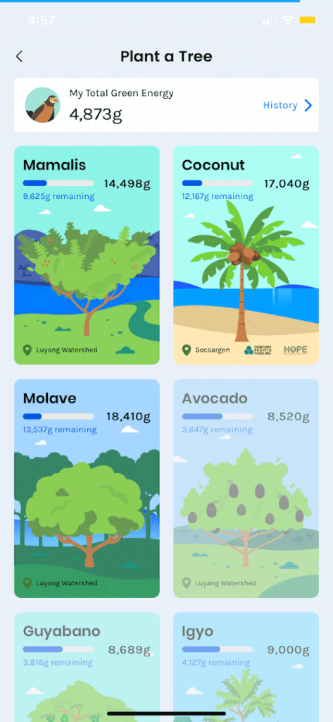 The types of trees you can help plant using GForest.